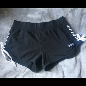 Black sweat-shorts with lace up design on side!